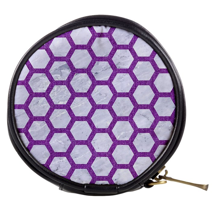 HEXAGON2 WHITE MARBLE & PURPLE DENIM (R) Mini Makeup Bags