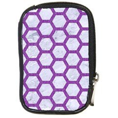 Hexagon2 White Marble & Purple Denim (r) Compact Camera Cases