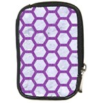 HEXAGON2 WHITE MARBLE & PURPLE DENIM (R) Compact Camera Cases Front
