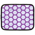 HEXAGON2 WHITE MARBLE & PURPLE DENIM (R) Netbook Case (XXL)  Front