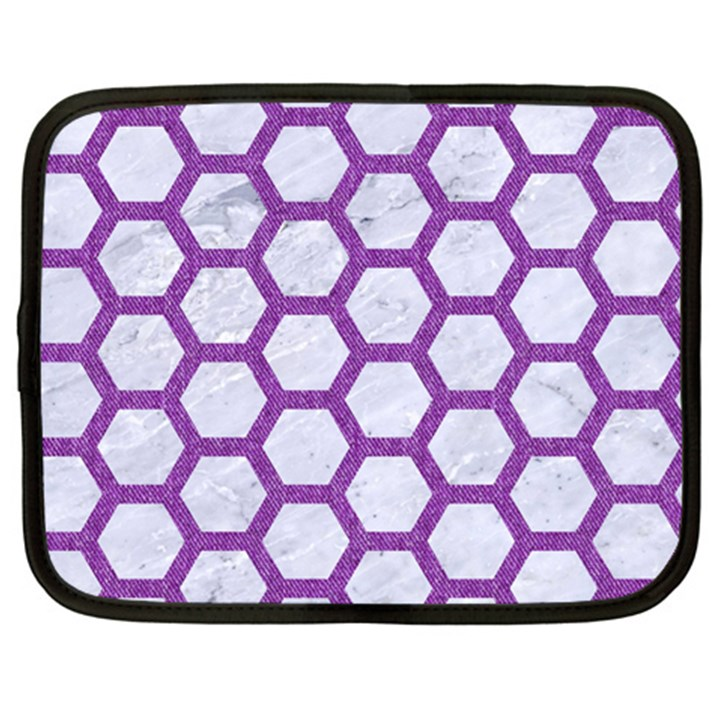 HEXAGON2 WHITE MARBLE & PURPLE DENIM (R) Netbook Case (XXL)