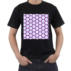 Hexagon2 White Marble & Purple Denim (r) Men s T Shirt (black)
