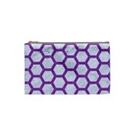 HEXAGON2 WHITE MARBLE & PURPLE DENIM (R) Cosmetic Bag (Small)  Front