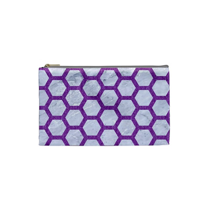 HEXAGON2 WHITE MARBLE & PURPLE DENIM (R) Cosmetic Bag (Small)