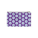 HEXAGON2 WHITE MARBLE & PURPLE DENIM (R) Cosmetic Bag (Small)  Back