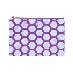 Hexagon2 White Marble & Purple Denim (r) Cosmetic Bag (large)  by trendistuff