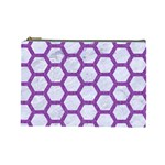 HEXAGON2 WHITE MARBLE & PURPLE DENIM (R) Cosmetic Bag (Large)  Front