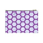 HEXAGON2 WHITE MARBLE & PURPLE DENIM (R) Cosmetic Bag (Large)  Back