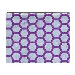 Hexagon2 White Marble & Purple Denim (r) Cosmetic Bag (xl) by trendistuff