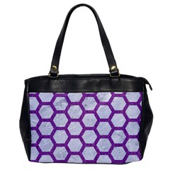 Hexagon2 White Marble & Purple Denim (r) Office Handbags