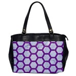 HEXAGON2 WHITE MARBLE & PURPLE DENIM (R) Office Handbags Front