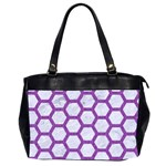 HEXAGON2 WHITE MARBLE & PURPLE DENIM (R) Office Handbags (2 Sides)  Front