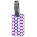 HEXAGON2 WHITE MARBLE & PURPLE DENIM (R) Luggage Tags (Two Sides) Back