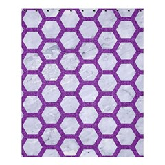 Hexagon2 White Marble & Purple Denim (r) Shower Curtain 60  X 72  (medium)