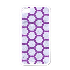 Hexagon2 White Marble & Purple Denim (r) Apple Iphone 4 Case (white) by trendistuff