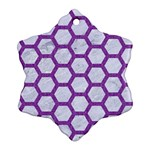 HEXAGON2 WHITE MARBLE & PURPLE DENIM (R) Snowflake Ornament (Two Sides) Front