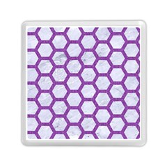 Hexagon2 White Marble & Purple Denim (r) Memory Card Reader (square)  by trendistuff