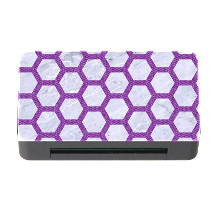 HEXAGON2 WHITE MARBLE & PURPLE DENIM (R) Memory Card Reader with CF