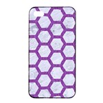 HEXAGON2 WHITE MARBLE & PURPLE DENIM (R) Apple iPhone 4/4s Seamless Case (Black) Front