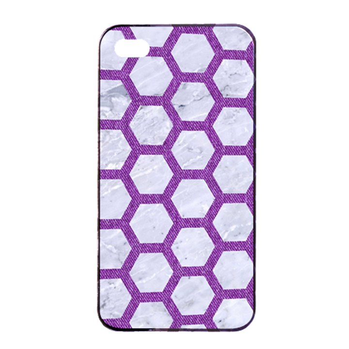 HEXAGON2 WHITE MARBLE & PURPLE DENIM (R) Apple iPhone 4/4s Seamless Case (Black)