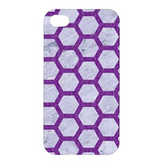 Hexagon2 White Marble & Purple Denim (r) Apple Iphone 4/4s Hardshell Case by trendistuff