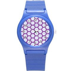 Hexagon2 White Marble & Purple Denim (r) Round Plastic Sport Watch (s)