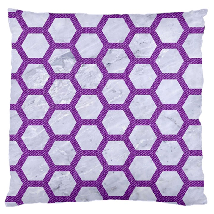 HEXAGON2 WHITE MARBLE & PURPLE DENIM (R) Large Cushion Case (Two Sides)