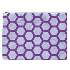 Hexagon2 White Marble & Purple Denim (r) Cosmetic Bag (xxl)  by trendistuff