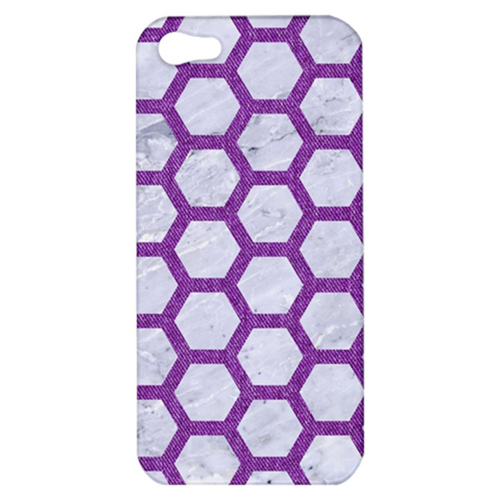 HEXAGON2 WHITE MARBLE & PURPLE DENIM (R) Apple iPhone 5 Hardshell Case