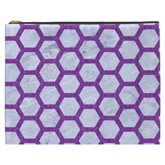 Hexagon2 White Marble & Purple Denim (r) Cosmetic Bag (xxxl)  by trendistuff