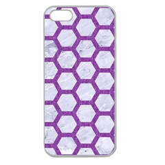 Hexagon2 White Marble & Purple Denim (r) Apple Seamless Iphone 5 Case (clear) by trendistuff