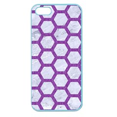 Hexagon2 White Marble & Purple Denim (r) Apple Seamless Iphone 5 Case (color) by trendistuff