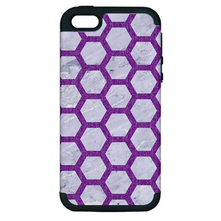 HEXAGON2 WHITE MARBLE & PURPLE DENIM (R) Apple iPhone 5 Hardshell Case (PC+Silicone)