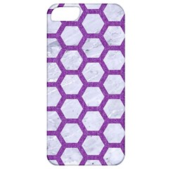 Hexagon2 White Marble & Purple Denim (r) Apple Iphone 5 Classic Hardshell Case by trendistuff