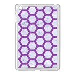 HEXAGON2 WHITE MARBLE & PURPLE DENIM (R) Apple iPad Mini Case (White) Front
