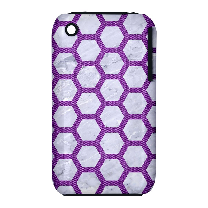 HEXAGON2 WHITE MARBLE & PURPLE DENIM (R) iPhone 3S/3GS
