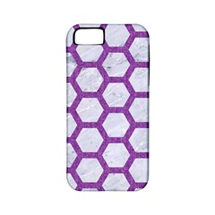 Hexagon2 White Marble & Purple Denim (r) Apple Iphone 5 Classic Hardshell Case (pc+silicone) by trendistuff