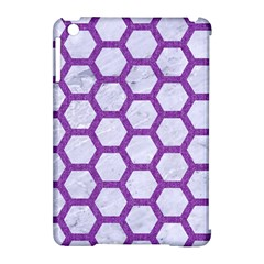 Hexagon2 White Marble & Purple Denim (r) Apple Ipad Mini Hardshell Case (compatible With Smart Cover) by trendistuff