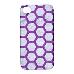 Hexagon2 White Marble & Purple Denim (r) Apple Iphone 4/4s Hardshell Case With Stand by trendistuff
