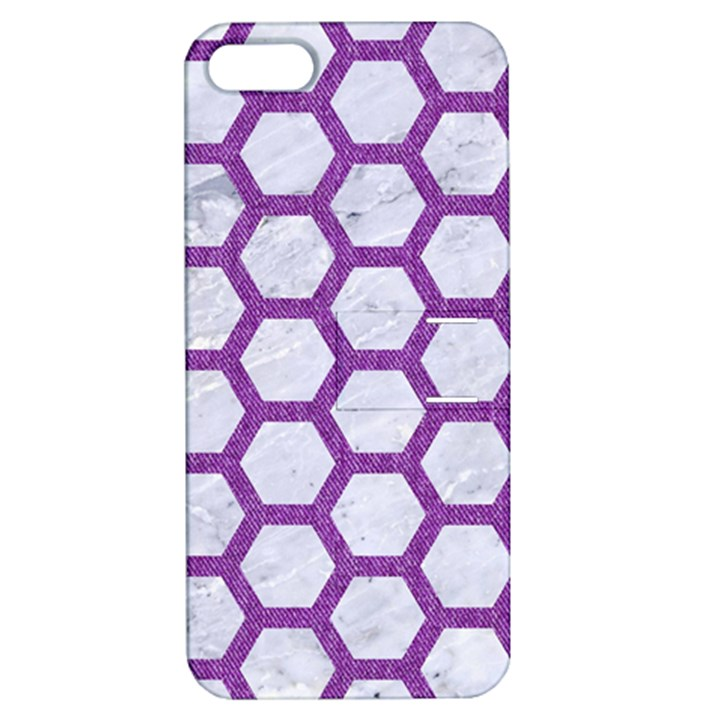 HEXAGON2 WHITE MARBLE & PURPLE DENIM (R) Apple iPhone 5 Hardshell Case with Stand
