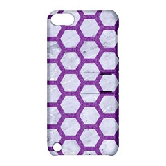 Hexagon2 White Marble & Purple Denim (r) Apple Ipod Touch 5 Hardshell Case With Stand