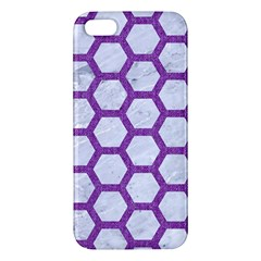 Hexagon2 White Marble & Purple Denim (r) Apple Iphone 5 Premium Hardshell Case by trendistuff
