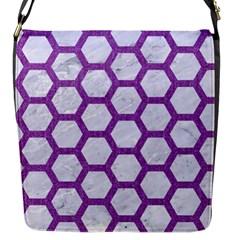 Hexagon2 White Marble & Purple Denim (r) Flap Messenger Bag (s)