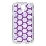 HEXAGON2 WHITE MARBLE & PURPLE DENIM (R) Samsung GALAXY S4 I9500/ I9505 Case (White) Front