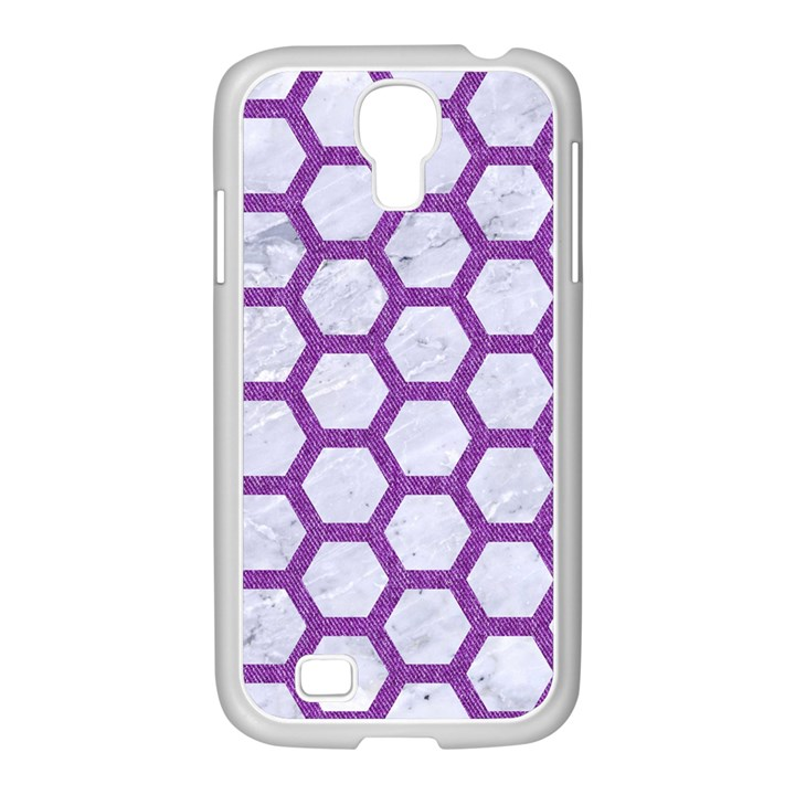 HEXAGON2 WHITE MARBLE & PURPLE DENIM (R) Samsung GALAXY S4 I9500/ I9505 Case (White)
