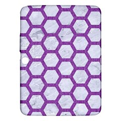 Hexagon2 White Marble & Purple Denim (r) Samsung Galaxy Tab 3 (10 1 ) P5200 Hardshell Case