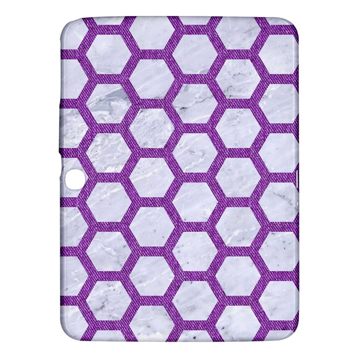 HEXAGON2 WHITE MARBLE & PURPLE DENIM (R) Samsung Galaxy Tab 3 (10.1 ) P5200 Hardshell Case