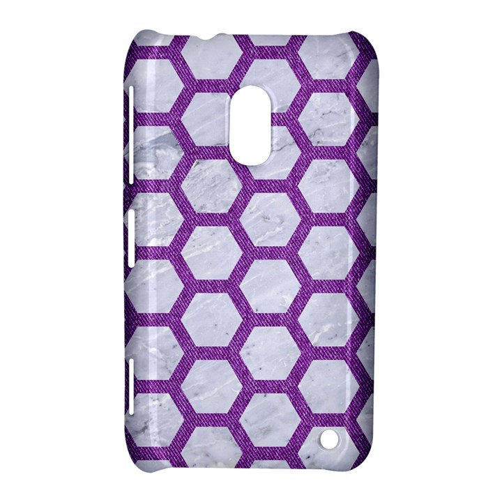 HEXAGON2 WHITE MARBLE & PURPLE DENIM (R) Nokia Lumia 620