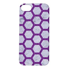 Hexagon2 White Marble & Purple Denim (r) Apple Iphone 5s/ Se Hardshell Case by trendistuff