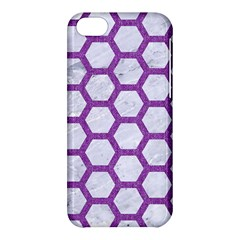 Hexagon2 White Marble & Purple Denim (r) Apple Iphone 5c Hardshell Case by trendistuff